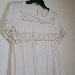 H&M Ivory Shift Crochet Lace Dress